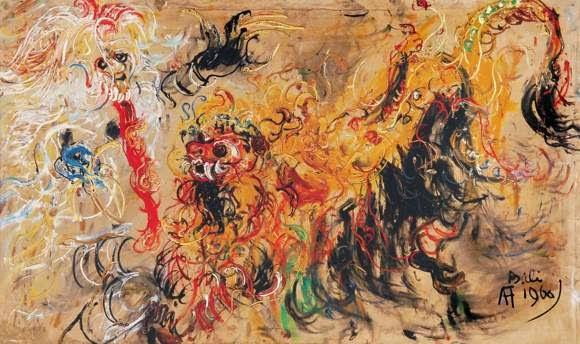 Lukisan Affandi Barong dan Rangda