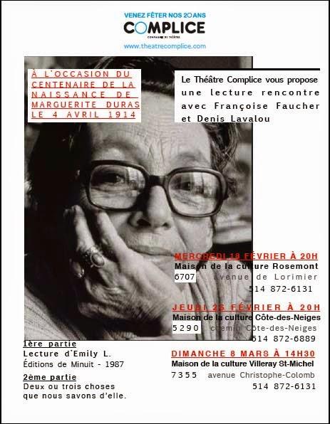 Maisons de la culture/ Emily L. - Une soirée avec Marguerite Duras