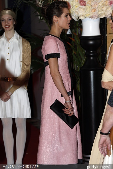 Charlotte Casiraghi arrives for the annual Rose Ball at the Monte-Carlo Sporting Club in Monaco