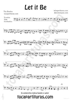 tubescore Let it Be by The Beatles sheet music for Trombone Tube and Euphonium Pop - Rock Music Score