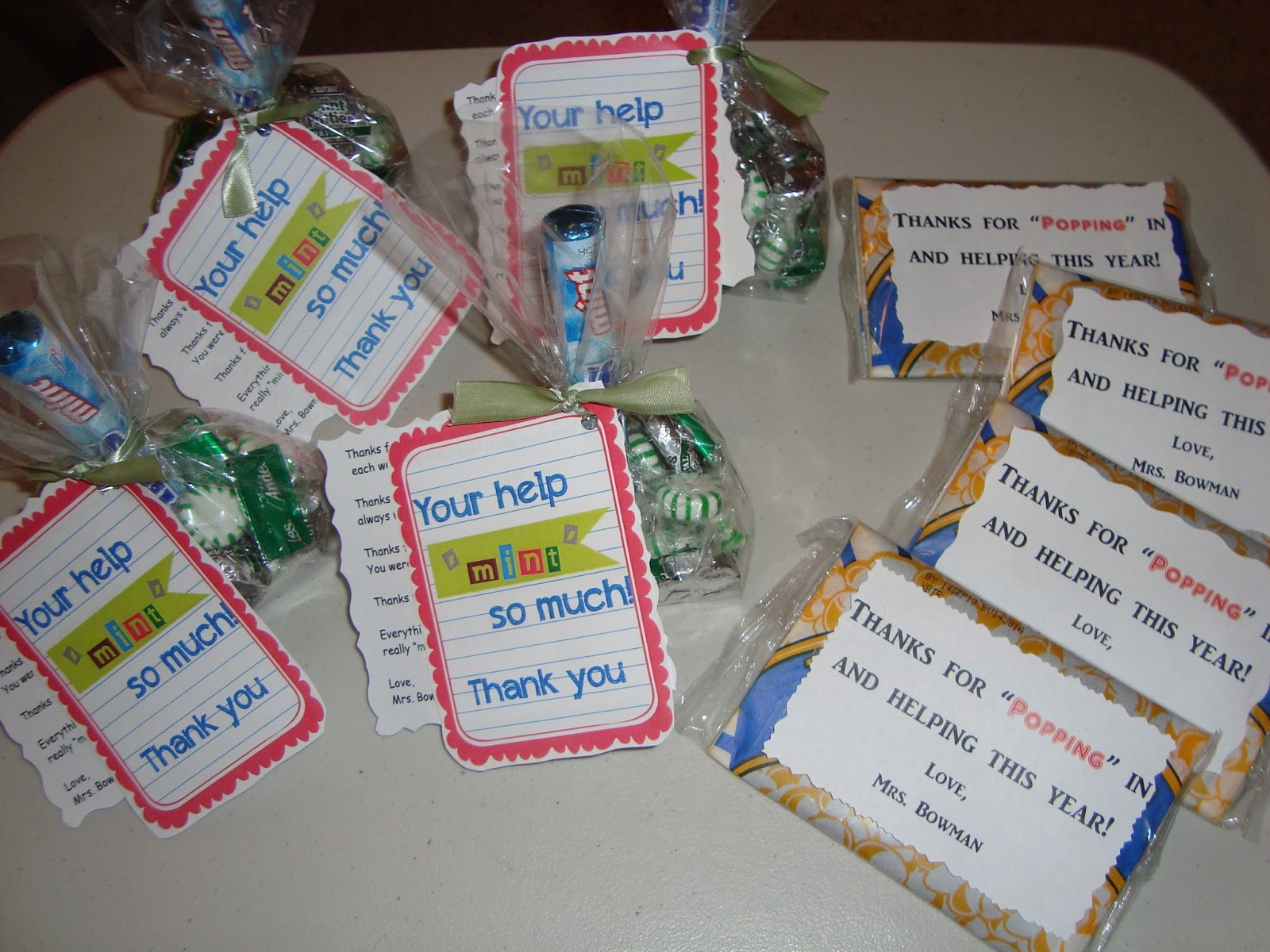 Put a variety of mints in a bag and printed off the Gifts to show appreciation to friend