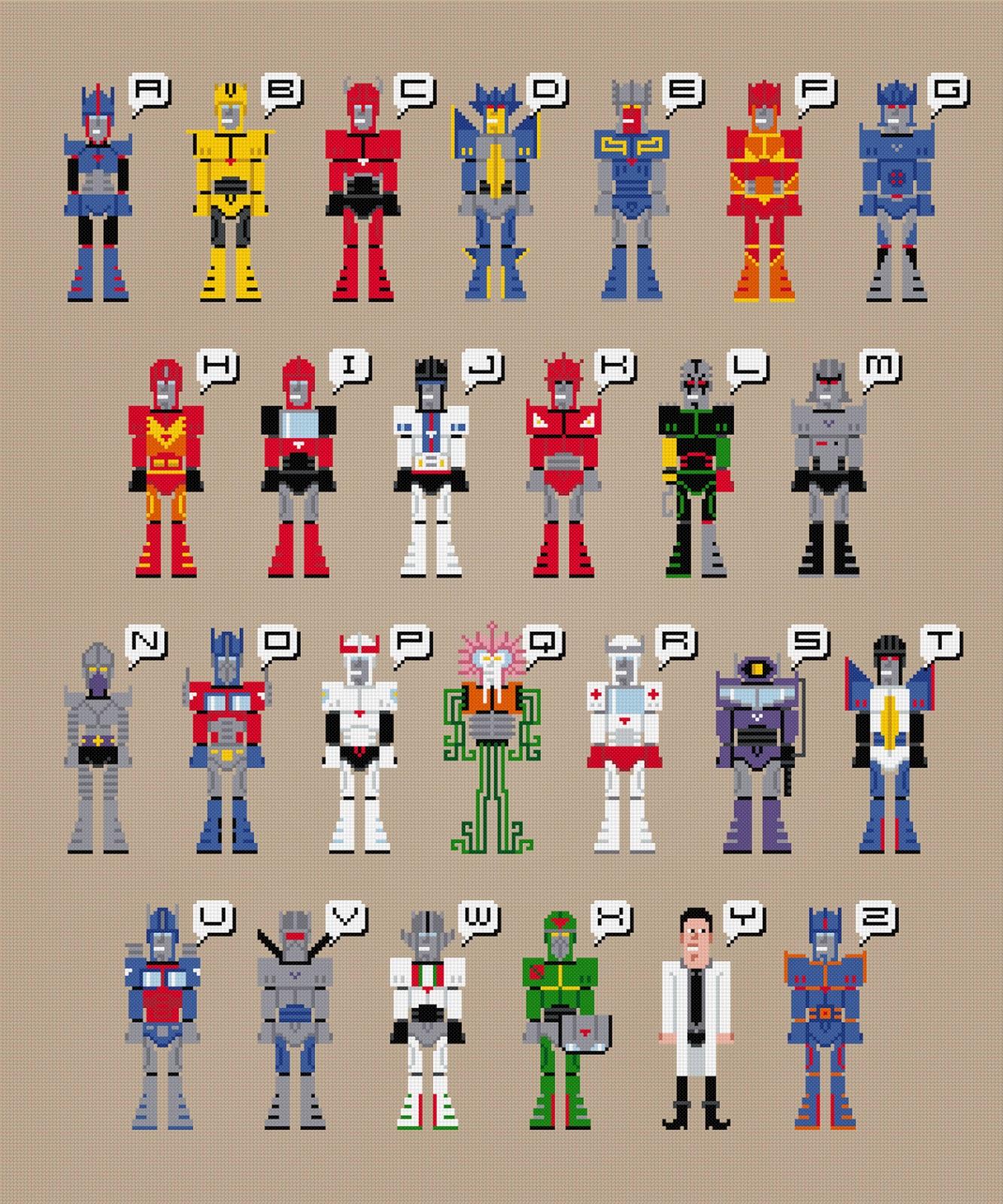 Transformers Alphabet - Cross Stitch PDF Pattern Download
