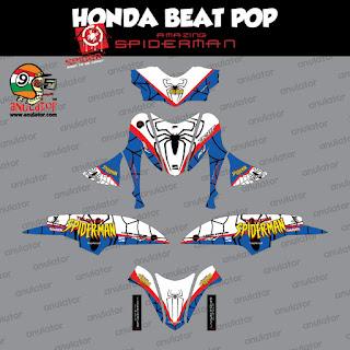 Sticker striping motor stiker Honda Beat Pop Spiderman Jaring