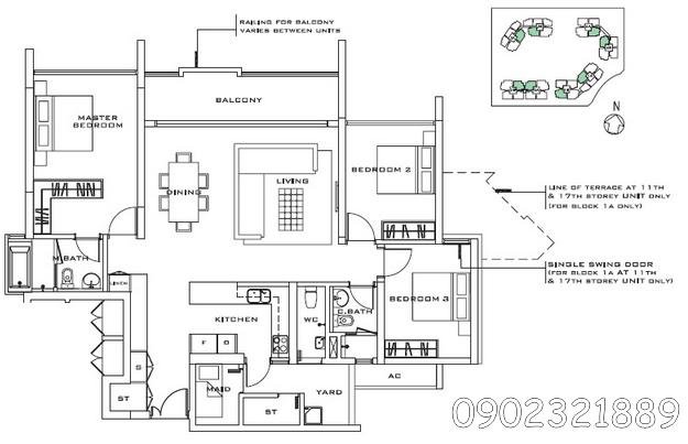 căn hộ estella 3 phòng ngủ