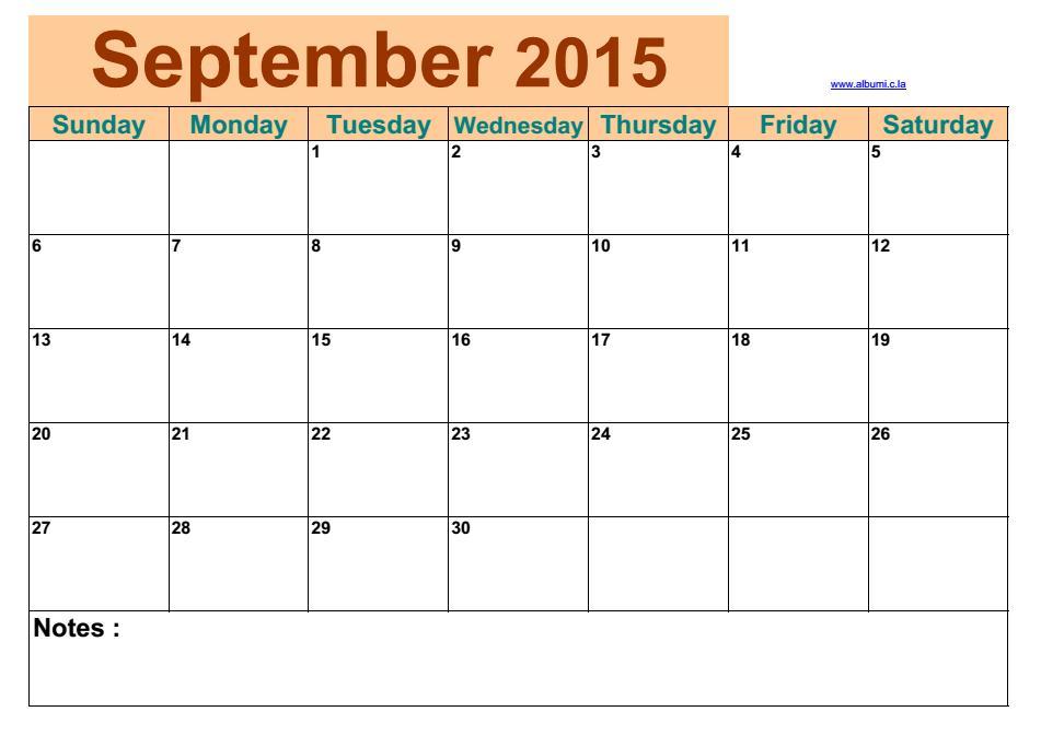 Blank Calendar Blocks : Blank calendar september
