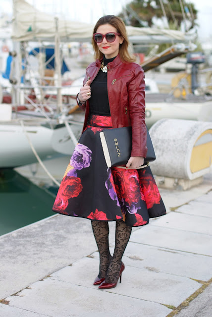 scuba full midi skirt, burgundy leather jacket, Moschino notes bag, Fashion and Cookies, fashion blogger