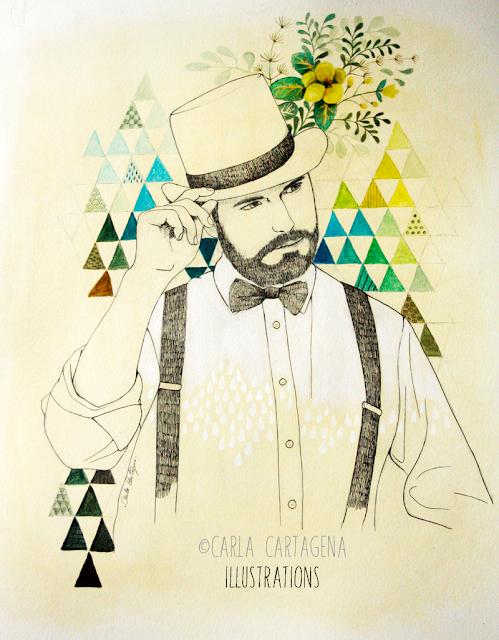 Portrait-néo-rétro-vintage-carla cartagena-illustration-peinture-encre-Julien Tournier