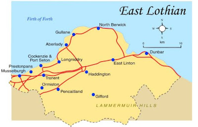 Map of East Lothian Province Area