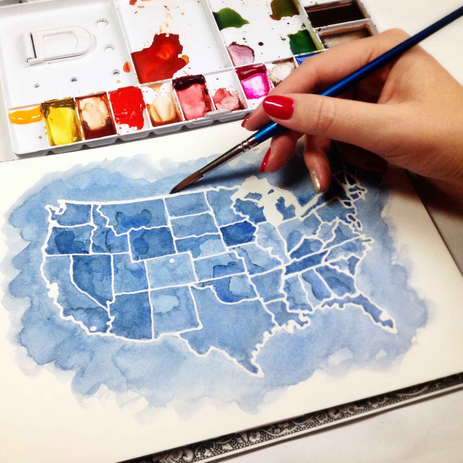 Watercolor map of the USA / America by Brown Paper Bunny Jessica Mack