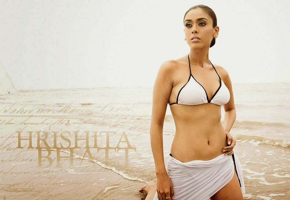 hrishita bhatt white bikini wet in beach