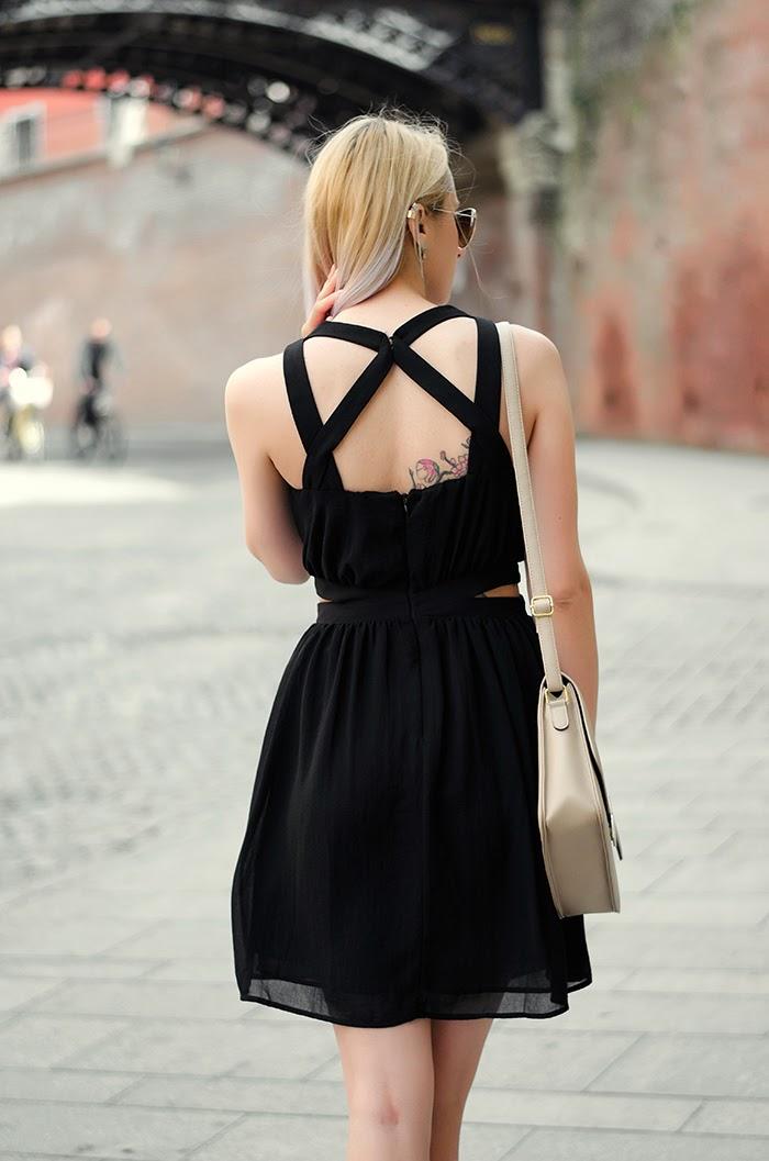 Mango black dress H&M mirror sunglasses