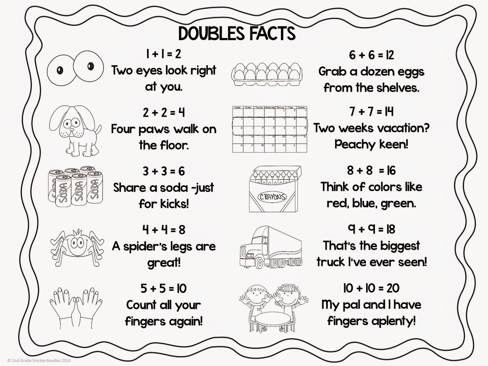 worksheet Doubles Facts 2nd grade snickerdoodles doubles facts freebie we will also add this printable copy to our interactive notebook includes a color and bw version i hope it be helpful your swe