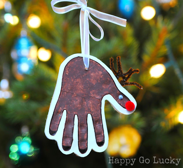 reindeer handprint clay ornament