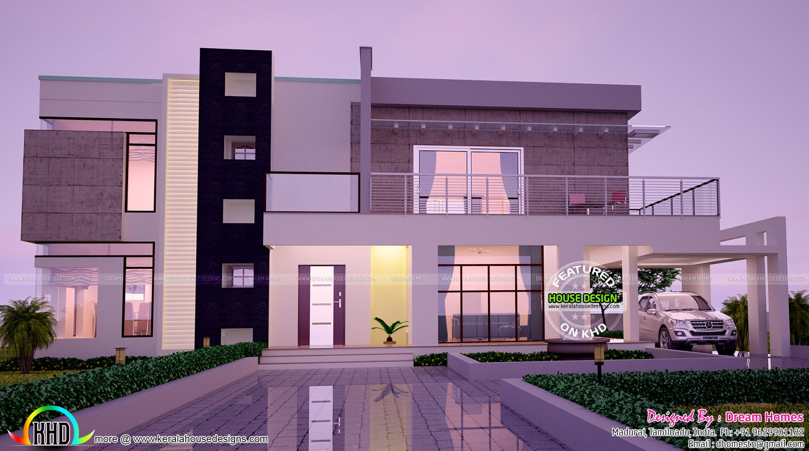 Modern house front view double floor for Images of front view of beautiful modern houses