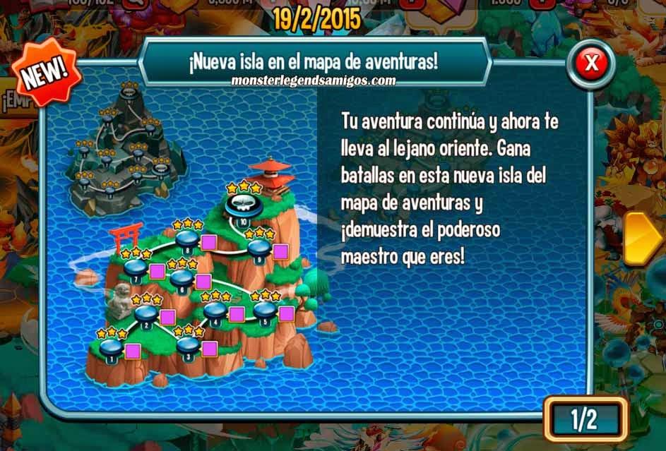imagen de la nueva isla del mapa de aventuras de monster legends