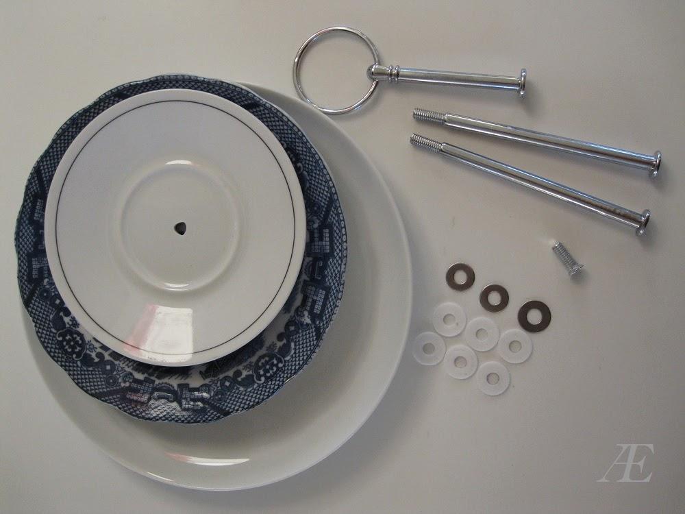DIY, kagefad, 3-delt, tallerkner, genbrug, underkop, porcelæn, håndtag, byg selv, dele, adskilt
