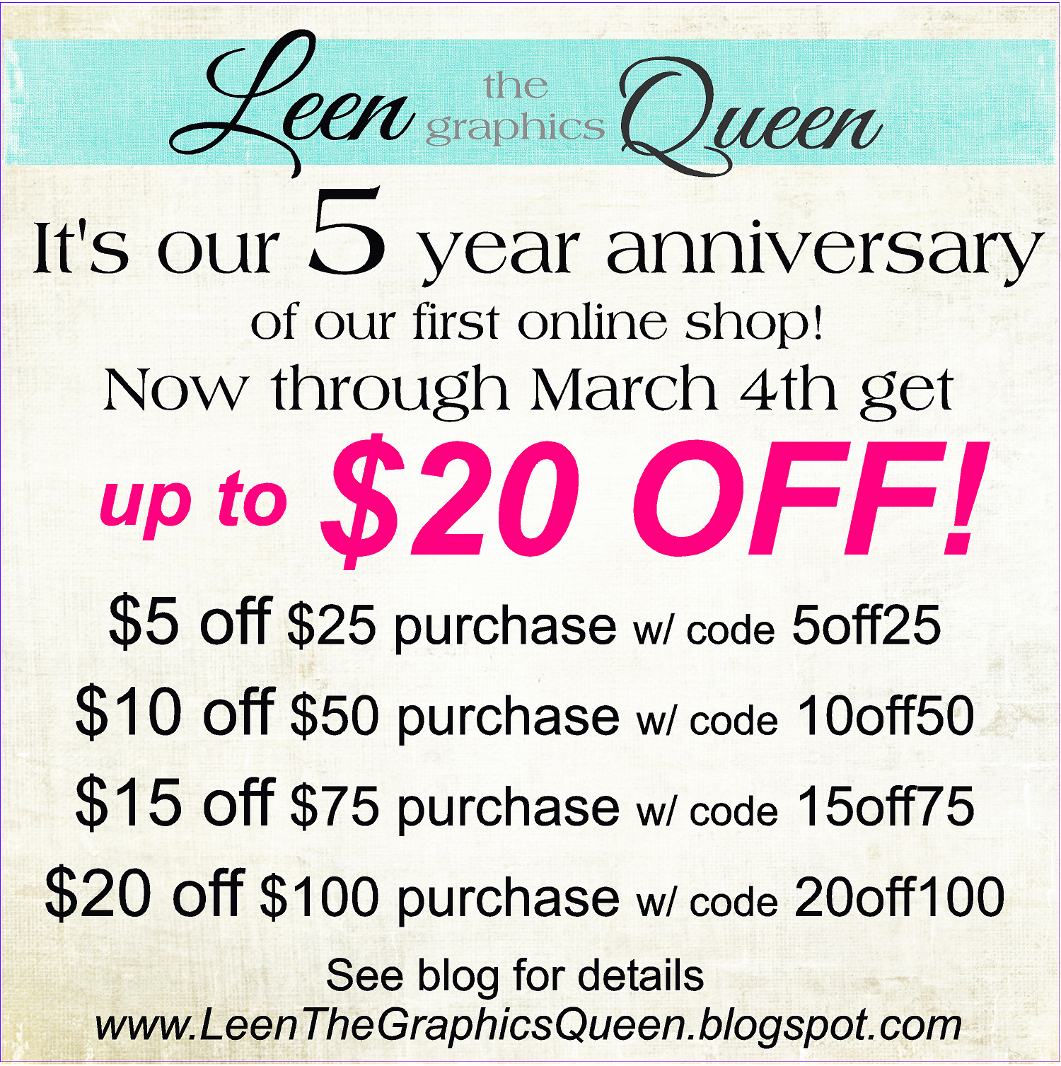 Leen the graphics queen you can use above coupon codes in our etsy site or our website fandeluxe Image collections