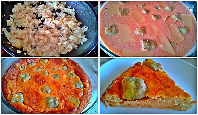Preparación del pastel de alcachofas