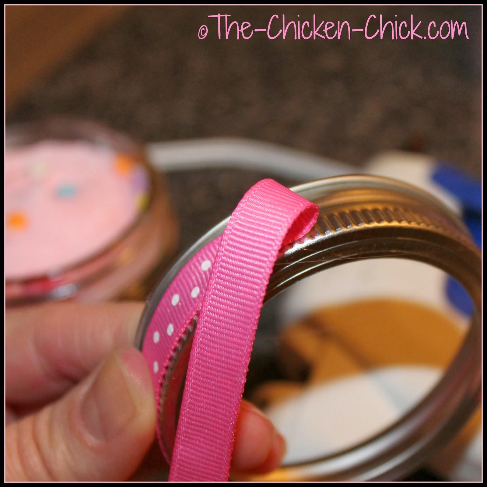 hot glue ribbon onto Ball jar ring