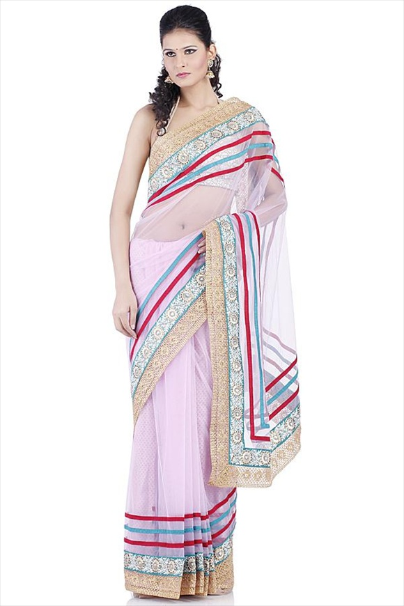 Mauve Net Saree