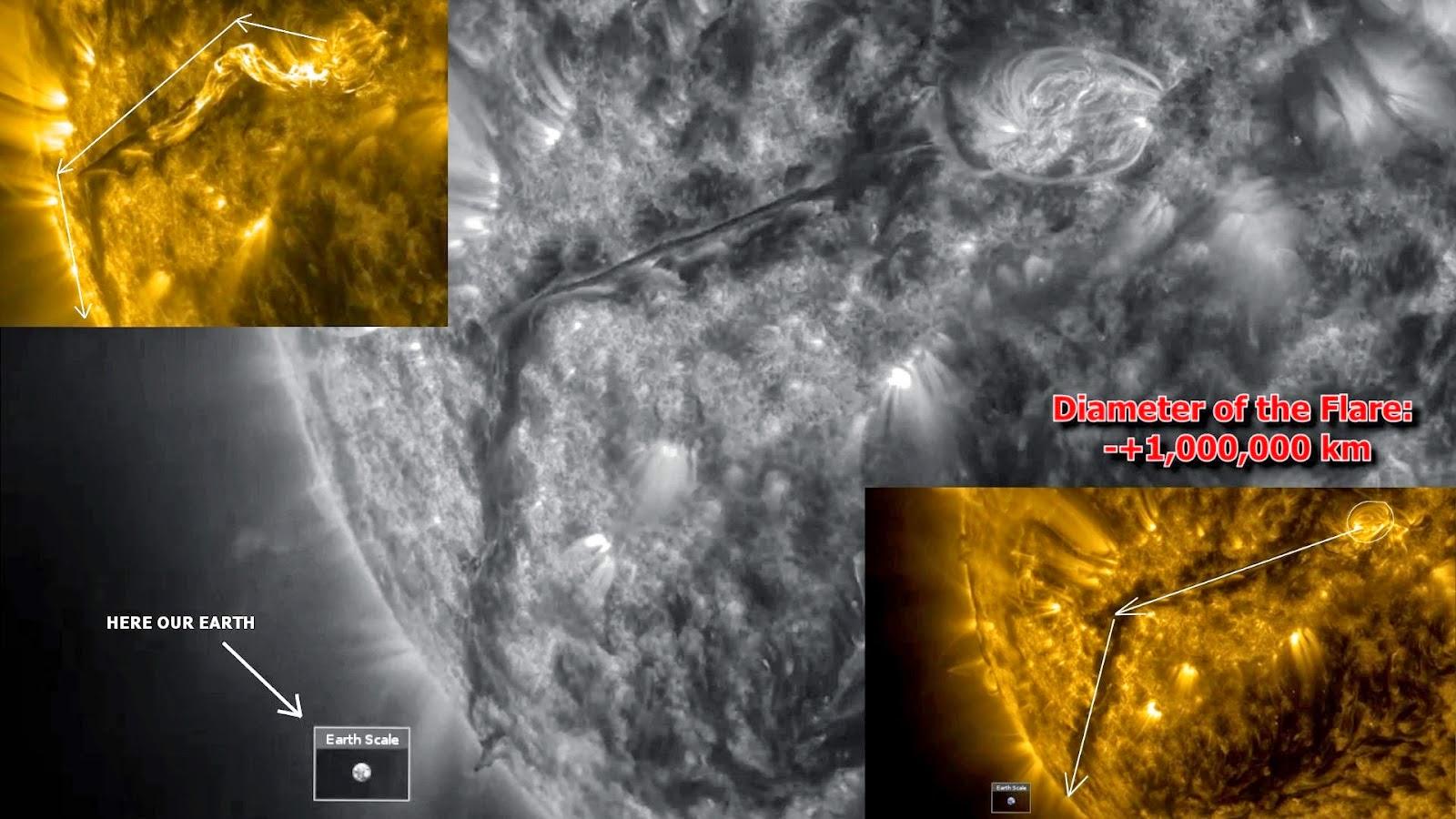 Vidéo étonnante: énorme forme étrange qui serpente de filaments de plasma sur le Soleil, Le 5 Févri