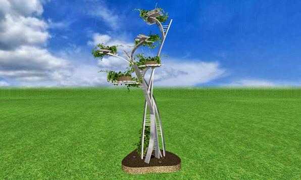 escultura de metal de diseño artistico para un jardin de lujo acabado acero cromado foto 3