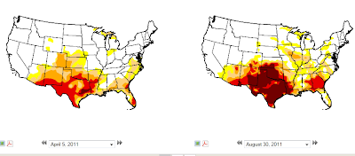 Drought map showing Texas moving from 'severe and extreme' to 'extreme and exceptional'