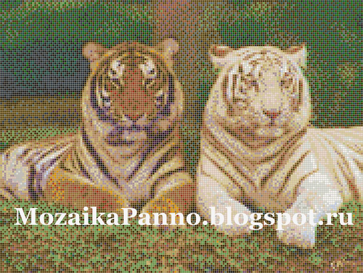 Картина из стеклянной мозаики «Белый тигр и серый тигр»