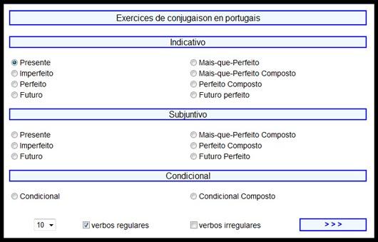 Exercices de conjugaison en portugais en ligne ~ EPFC ...