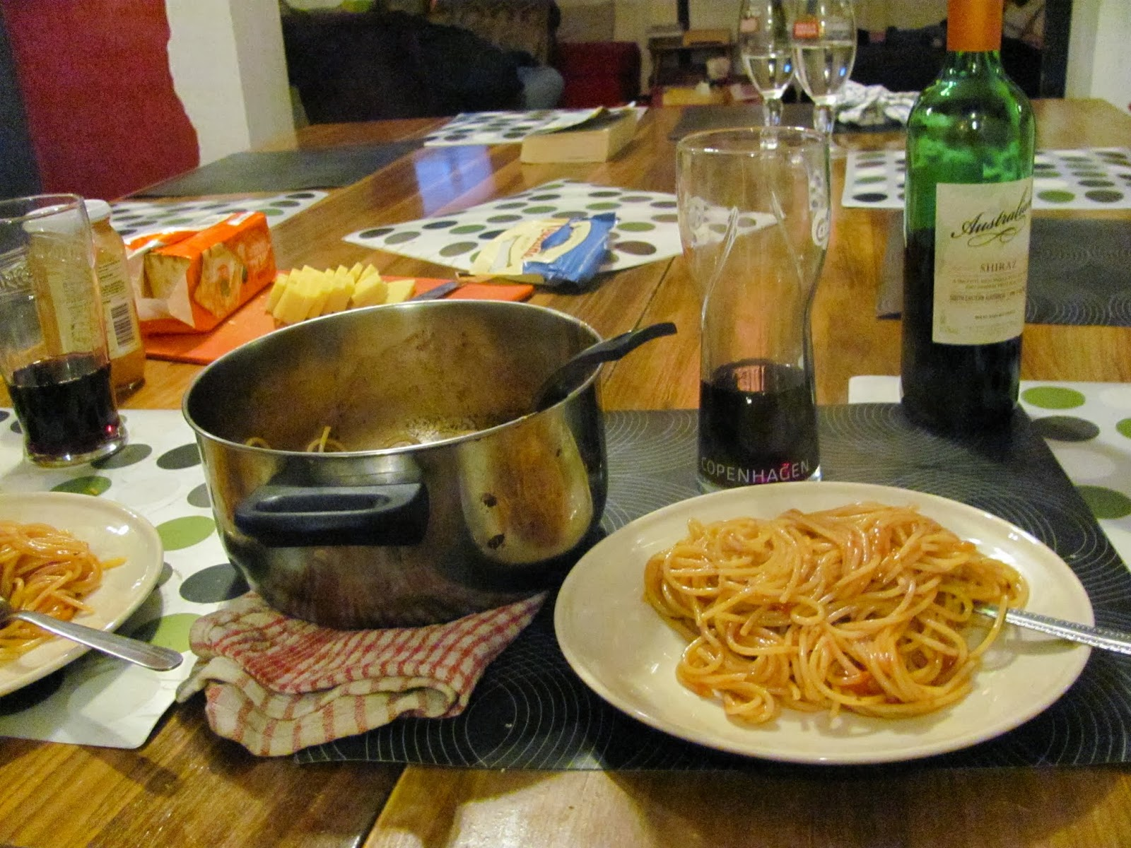 Spaghetti, cheese, crackers, and wine at Vagabonds Hostel Belfast