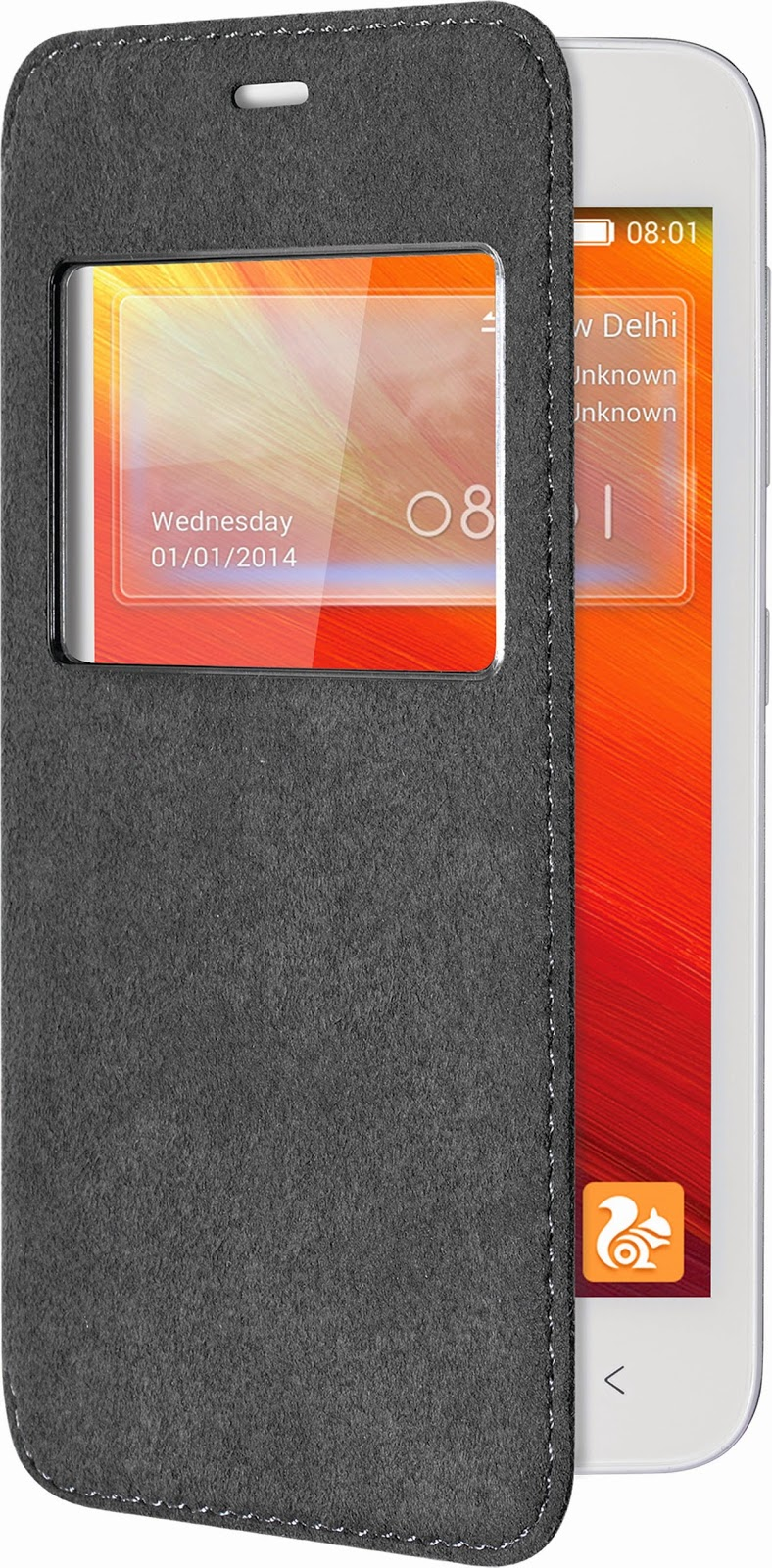Gionee Pioneer P4S with black flip cover