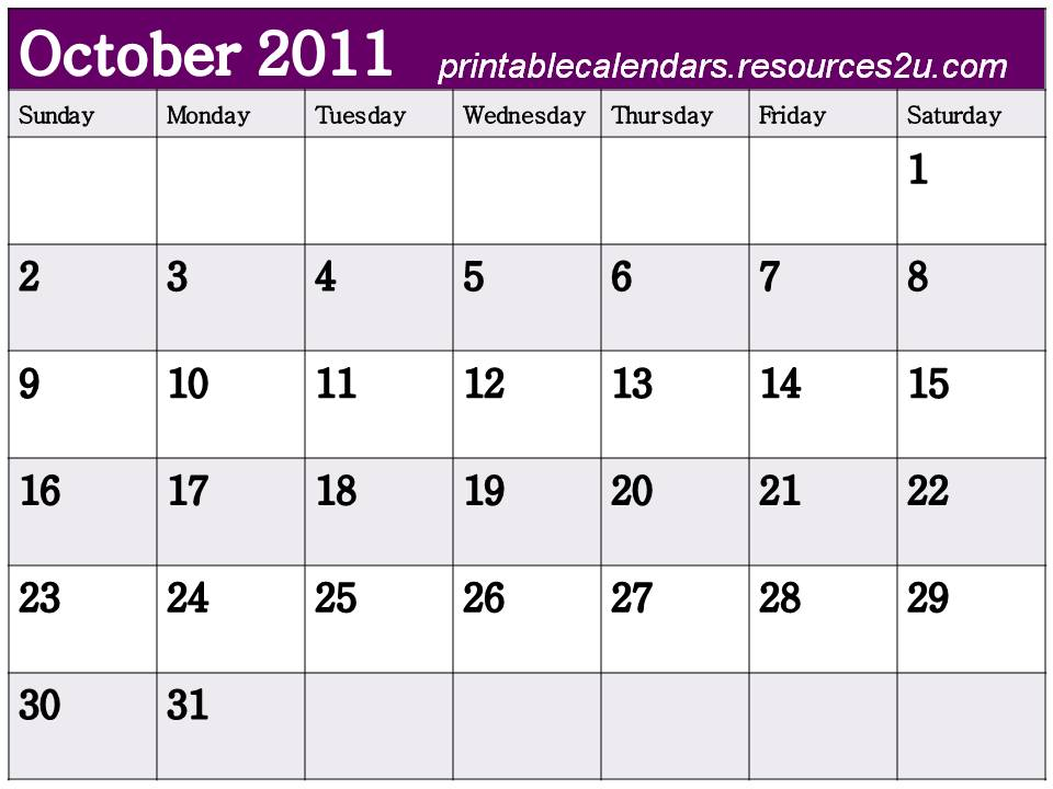 Free 2014 Calendars Printable: 2011 Calendar october with lines