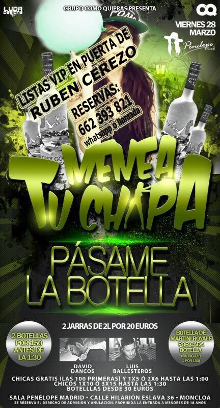 lista PENÉLOPE MADRID VIERNES, 28 DE MARZO: MENEA TU CHAPA