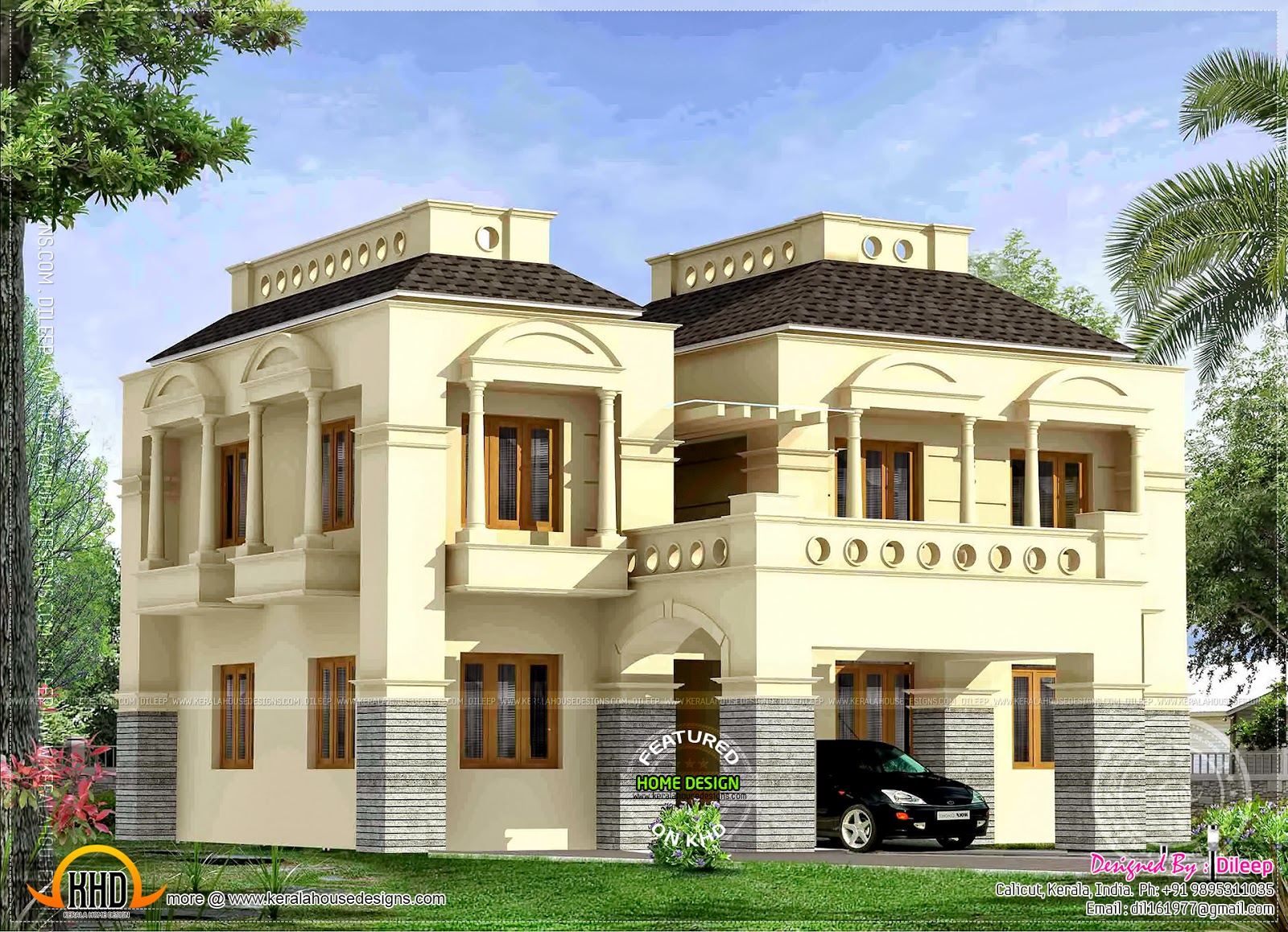 New style 4 BHK house Kerala home design and floor plans