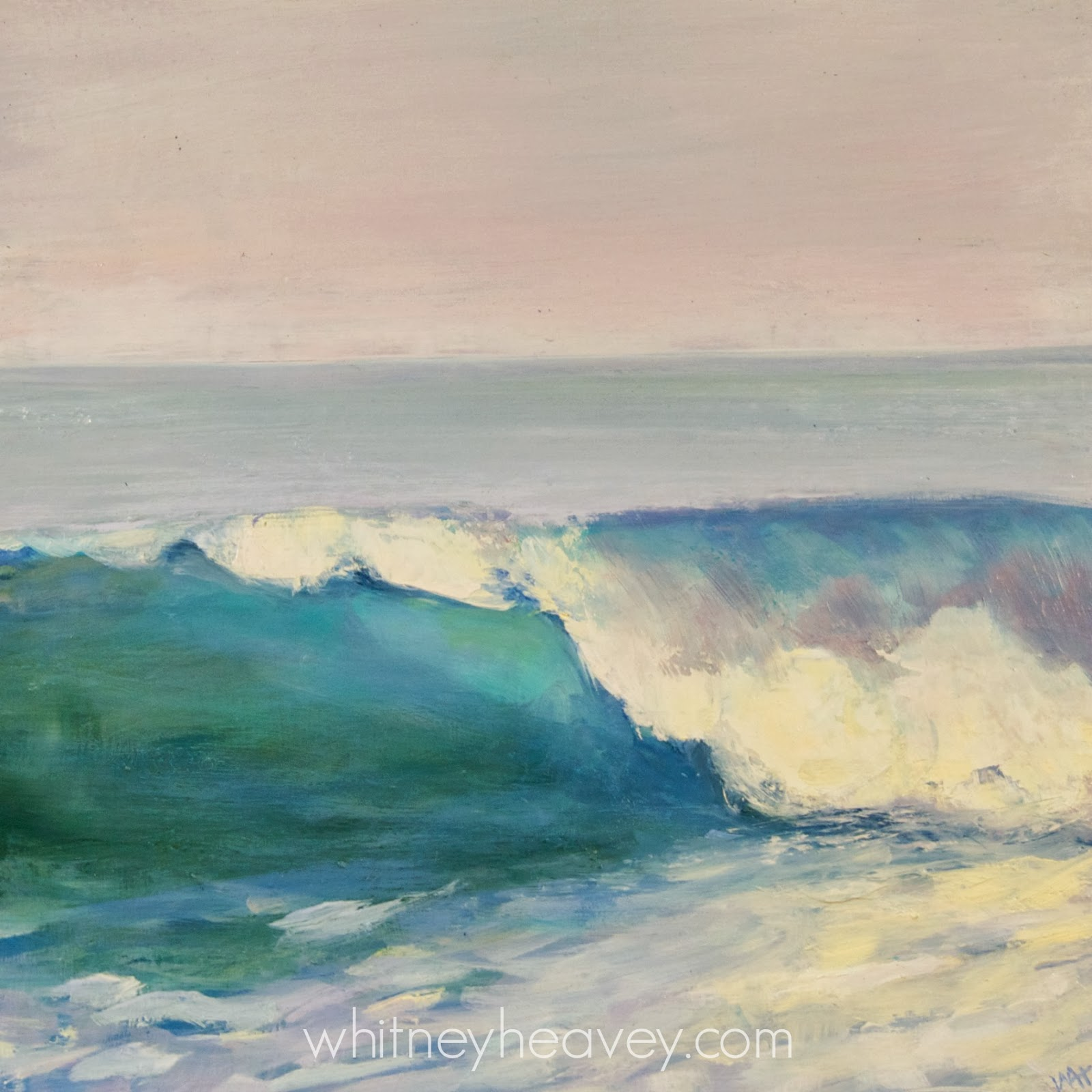 Oil painting of a wave by Whitney Heavey