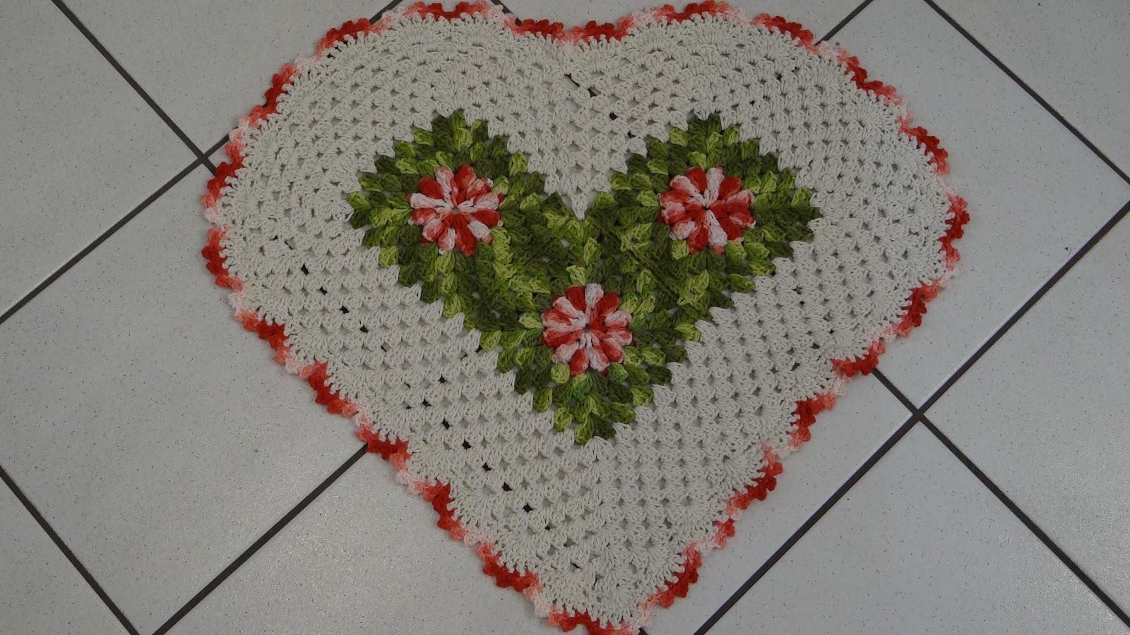 Tapete Coração em crochê