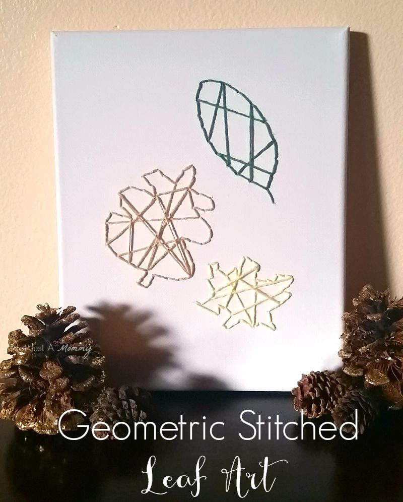 An easy project for your mantel or tabletop, Geometric Stitched Leaf Art