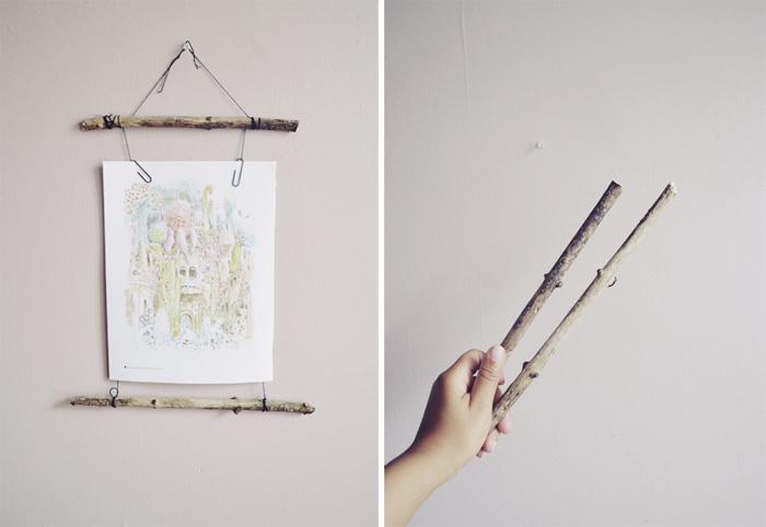 DIY stick frame with Miyazaki print
