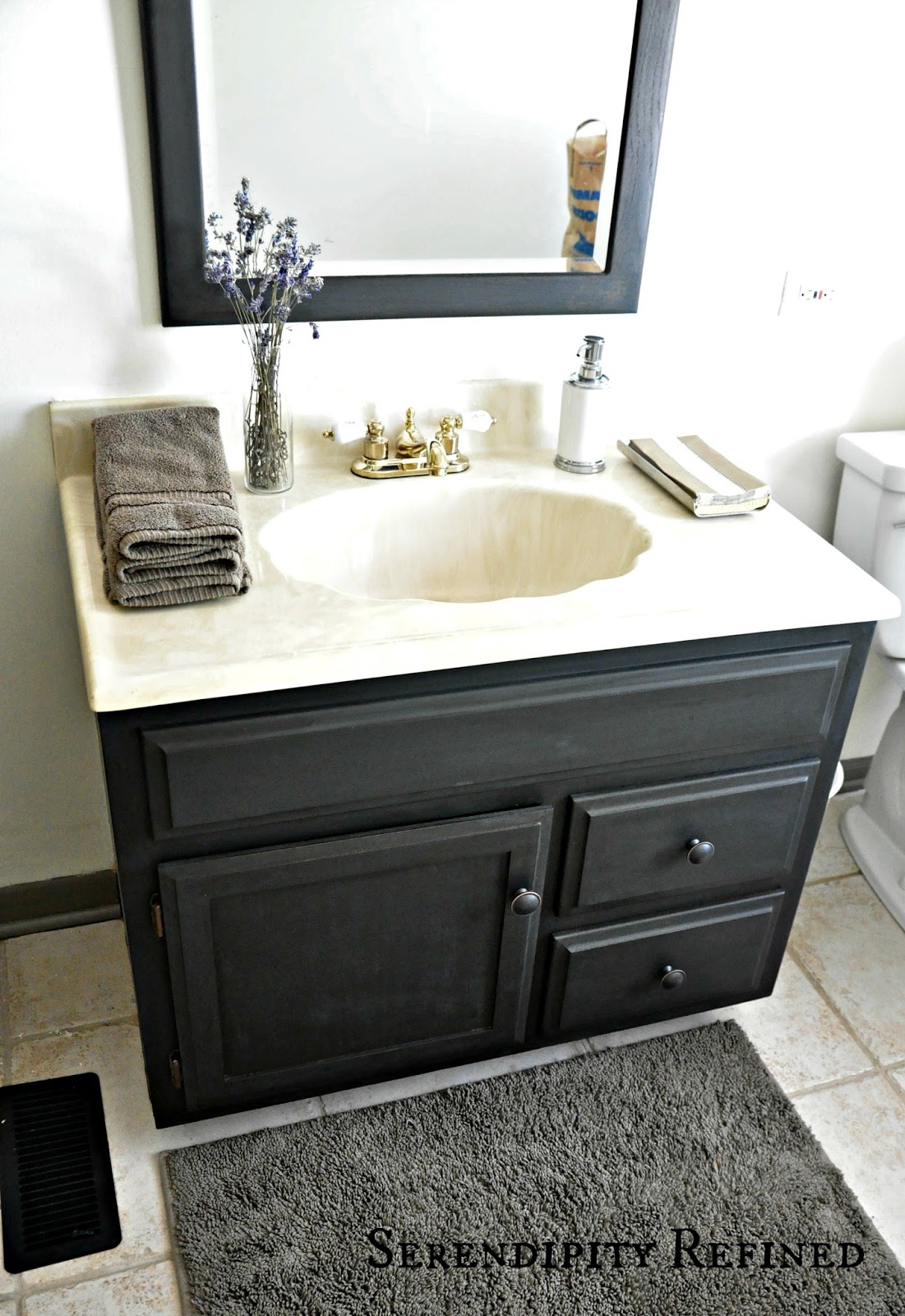 Serendipity Refined Blog: How To Update Oak And Brass Bathroom Fixtures  With Spray Paint And Chalk Paint