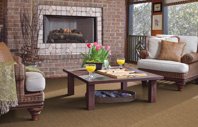 textured carpet offers a practical and comfortable option for this sitting area
