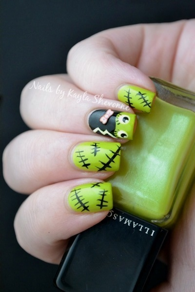I was lucky once again that the two breaks from my car door weren't so bad  once I removed my polish and got a good look. - Nails By Kayla Shevonne: Halloween Nail Art - Bride Of Frankenstein