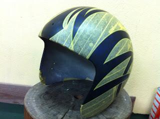 218481145 - カスタムペイント工程  ジェットヘルメット スカル クリアースピニング
