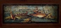 Pintura mural de la casa de los Vettii en Pompeya. Los piratas cilicios se aventuraron a saquear grandes navíos en alta mar, como los de la imagen.