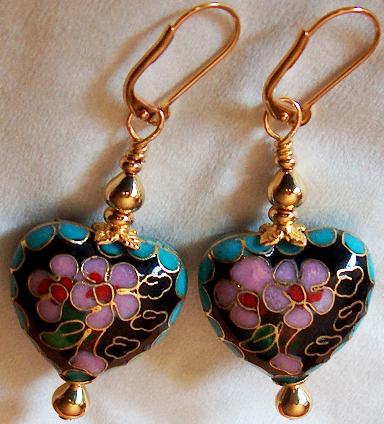 Antique Cloisonne Earrings Kirsten USA