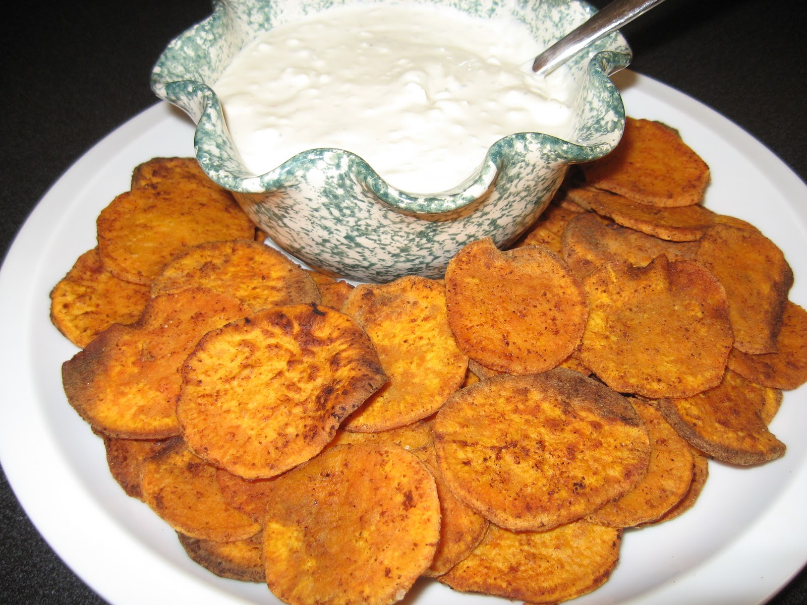... : Homemade Sweet Potato Chips with Blue Cheese Dressing for dipping