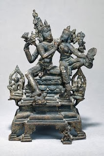 Shiva and Parvati in conversation; Central Indian bronze.
