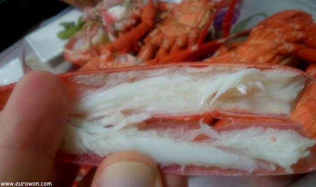 Carne de una pata de cangrejo daege coreano