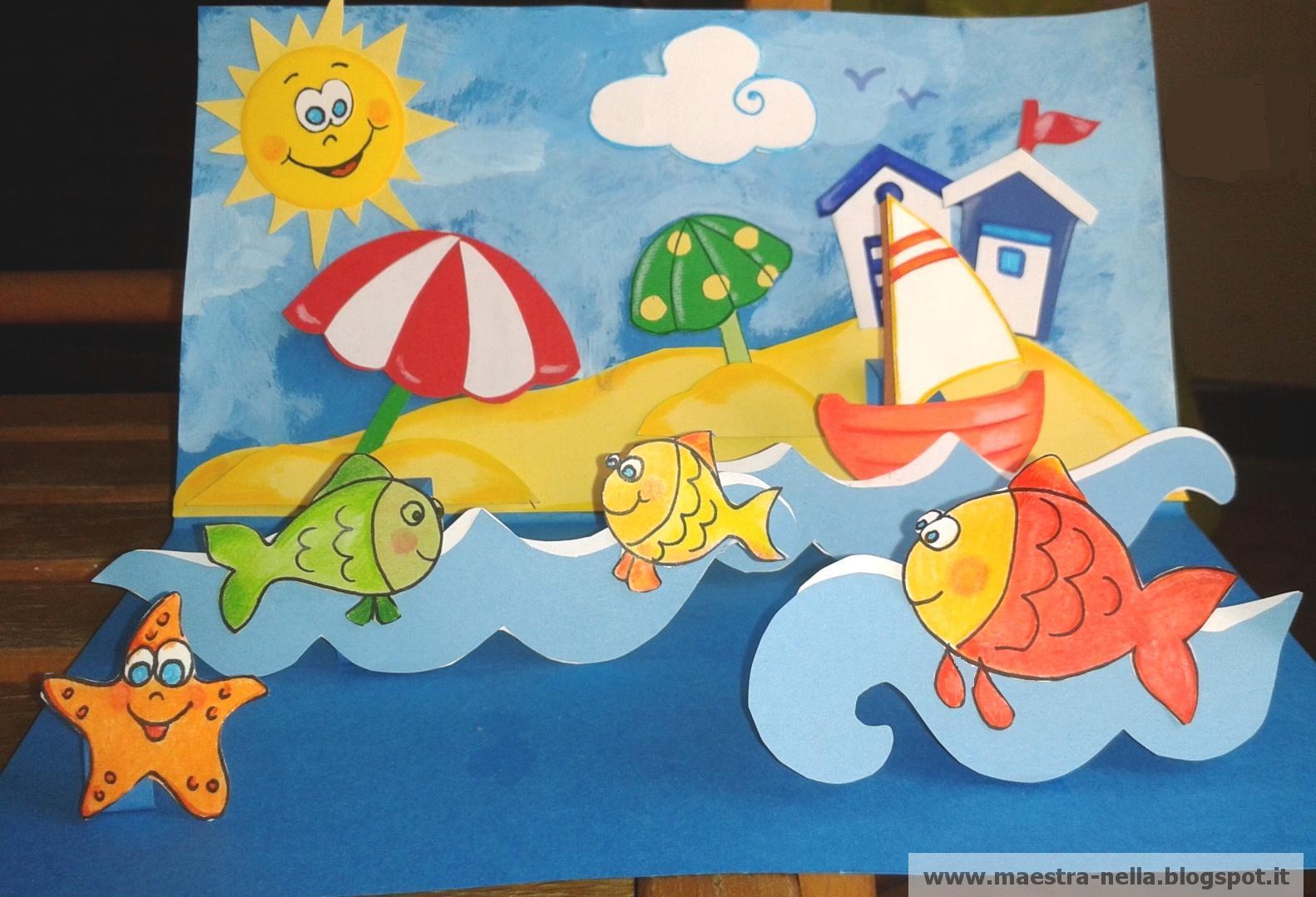 Maestra nella biglietto pop up 39 mare 39 for Lavoretti accoglienza scuola infanzia