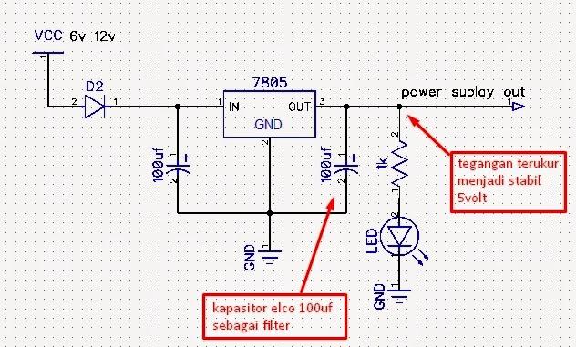 rangkaian power suplay regulator 7805 stabil 5volt