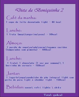 Dietas restritivas e cardápios pró-ana, tabela de nf e lf Dieta+2